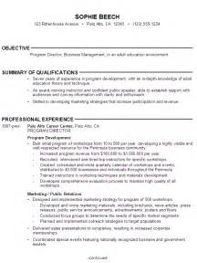education section of resume sle high school resume program director business manager education