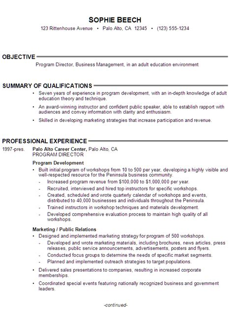 exle of a education resume resume program director business manager education