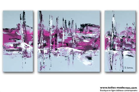 toile pour chambre tableau moderne triptyque abstrait gris violet rectangle