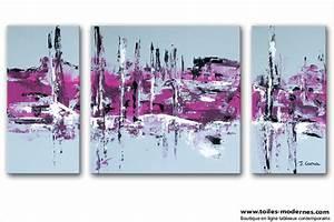Tableau Salon Moderne : tableau moderne triptyque abstrait gris violet rectangle ~ Farleysfitness.com Idées de Décoration