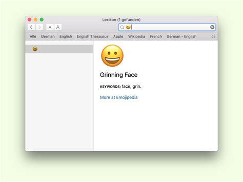 Bedeutung Von Emoji Herausfinden über Das Lexikon Am Mac
