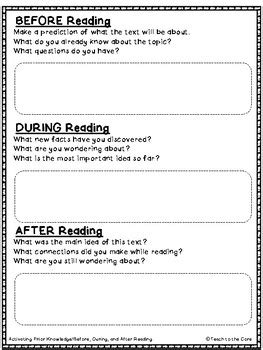 answering questions graphic organizers ri