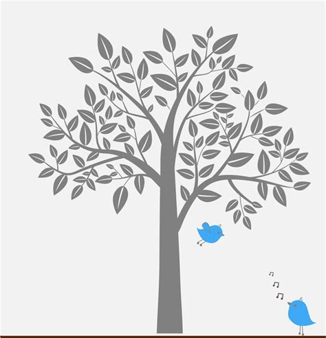 Wall Decal  Gray Tree Blue Singing Birds  Childrens Wall