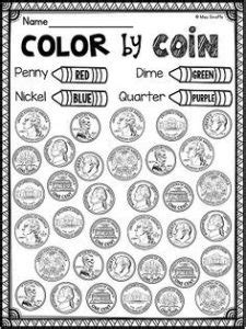 identifying coins  coin values worksheets kitty