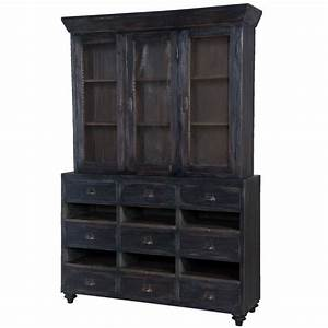 French Country Farmhouse Cabinet - black