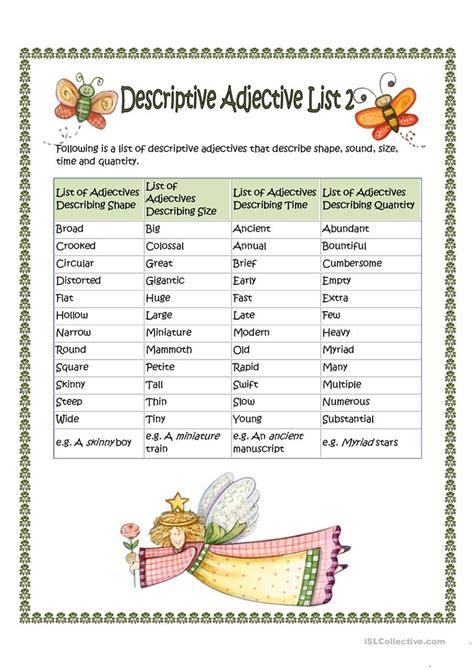 Descriptive Adjective List 2 Worksheet  Free Esl Printable Worksheets Made By Teachers