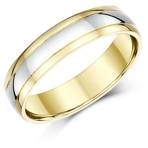 5mm 9ct two colour gold court shape wedding ring band 9ct 2 colour gold at elma uk jewellery