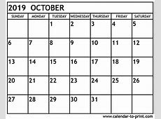 October 2019 Calendar calendar weekly printable