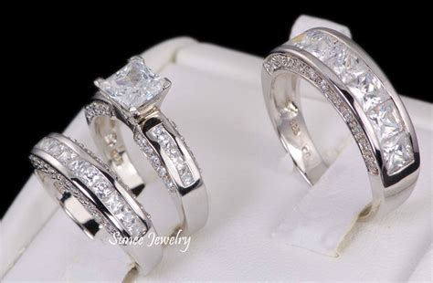 wedding ring sets his and hers his hers 3pc sterling silver wedding engagement bridal ring band set sz 8 5 ebay