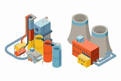 Factory 3d Industrial Vector Isometric Illustration Buildings