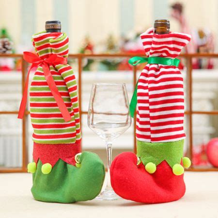 aytai 3pcs ugly christmas sweater wine bottle cover handmade wine bottle sweater for christmas decorations ugly christmas sweat shop for wine bottle cover shoes wine bottle sweater covers with bells for