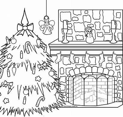 Coloring Christmas Pages Xmas Fireplace Pole North
