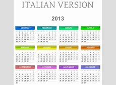 2013 Calendar Italian Version Stock Vector Illustration