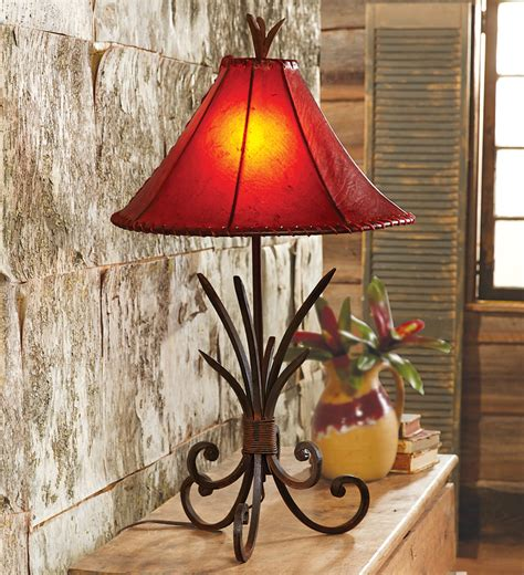 rustic table lamps iron agave table lamp  rawhide