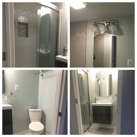 i the new guest bathroom paint color is behr serene