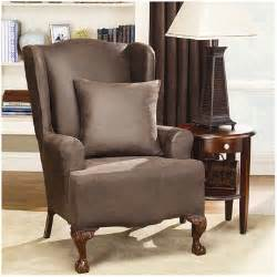 sure fit stretch leather wing chair slipcover reviews wayfair
