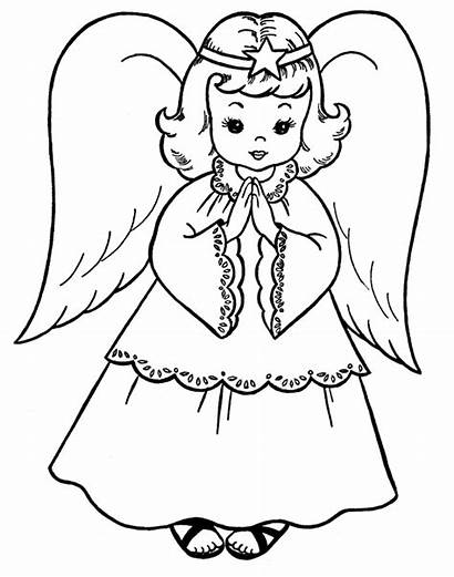 Angel Coloring Pages Guardian Clipart Clip Christmas