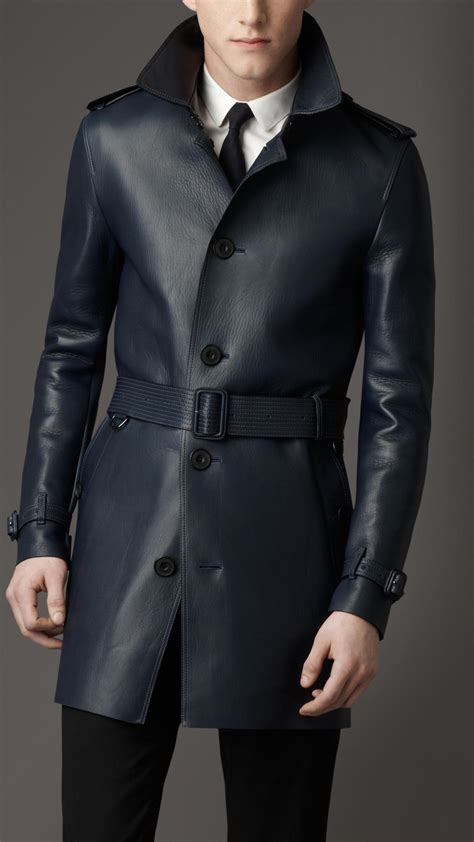 burberry midlength lambskin leather trench coat navy