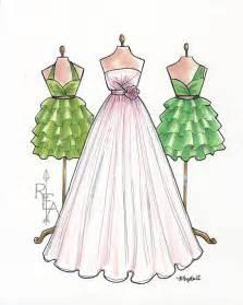 wedding dresses bristol moda ilustración blush rosa vestido boceto por