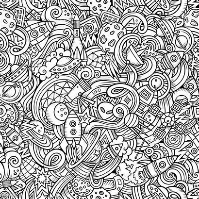 Pattern Space Cartoon Doodles Drawn Hand Vector