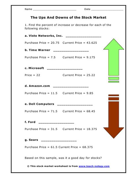 stock market worksheet the ups and downs of the stock market