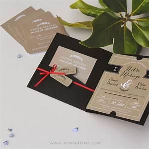 Faire Ses étiquettes : faire part mariage pochette dans un esprit vintage r tro pour une annonce tout en l gance ~ Melissatoandfro.com Idées de Décoration
