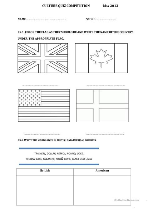 Culture Quiz Competition Worksheet  Free Esl Printable Worksheets Made By Teachers