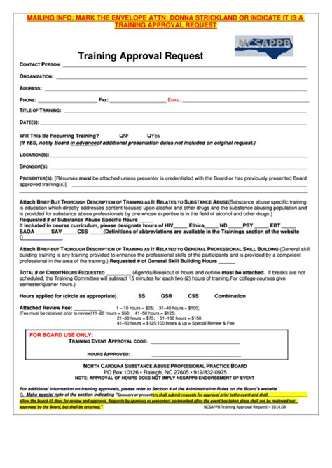 fillable ncsappb training approval request form printable