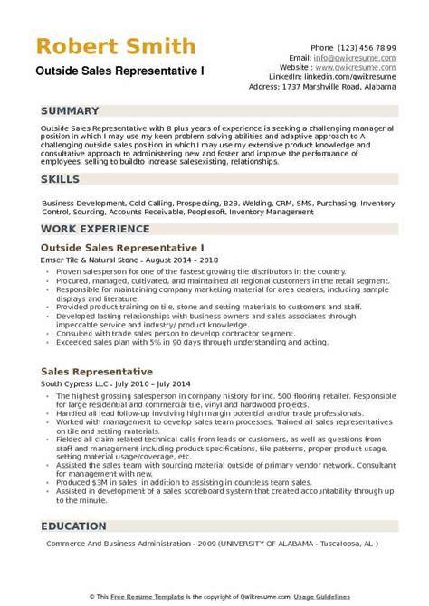 Resume Sles For by Outside Sales Representative Resume Sles Qwikresume
