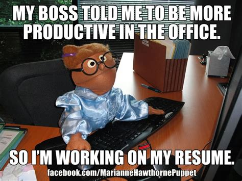 Funny Boss Memes - my boss told me to be more productive in the office so i m working on my resume buy her