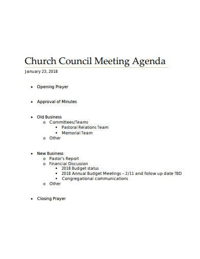church meeting agenda templates
