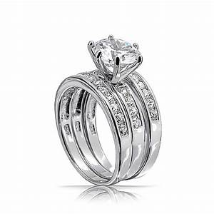 round cut cz 3 piece bridal engagement ring set sterling With 3 ring set wedding rings