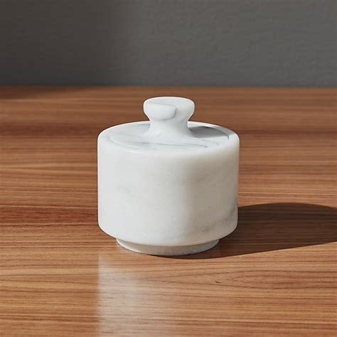 french marble salt cellar  lid crate  barrel