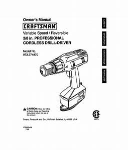 Craftsman Cordless Drill 973 2748 70 User Guide