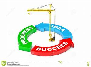 Progress  Idea  Success Arrow Diagram With Tower Crane  3d