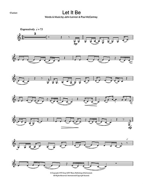 let it be sheet by the beatles clarinet 100999