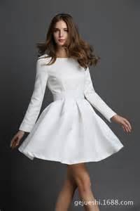 White Long Sleeve Short Dress