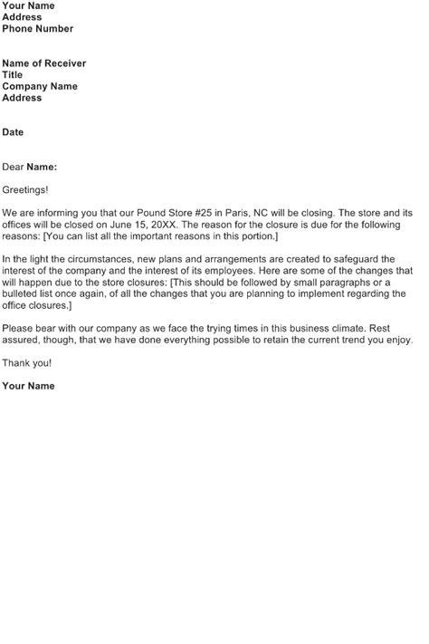 store closing announcement letter