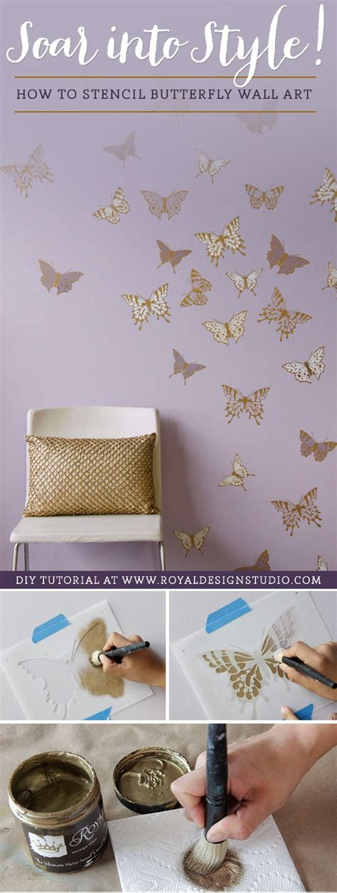 ( if you do the set of 4 butterfly photos notice there are 2 that have the same butterfly image & 2 that. How to Stencil Tutorial: Butterfly Wall Art for Cute Girls Room Decor   Royal Design Studio Stencils
