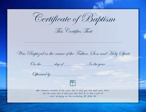 Baptism Certificate Template Free by Baptism Certificate Free Premium Templates