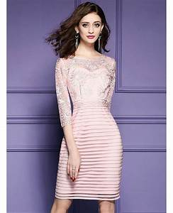 pink embroidered 3 4 sleeve party dress for wedding guests With 3 4 sleeve wedding guest dress