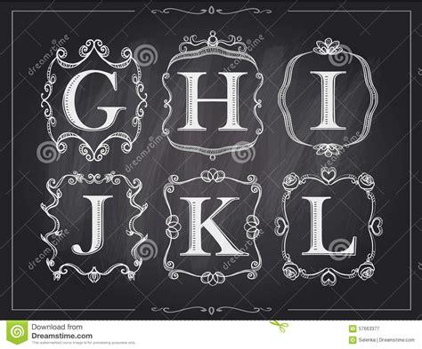 blackboard chalk vintage calligraphic letters  monogram