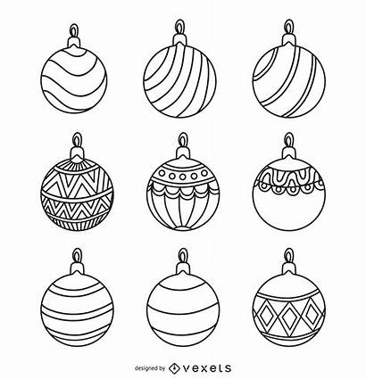 Ornament Christmas Outlines Round Ornaments Vexels Vector