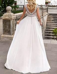 Hochzeitskleid Spitze Rückenfrei : yasiou elegant hochzeitskleid damen lang hochzeitskleider spitze chiffon brautmode r ckenfrei ~ Frokenaadalensverden.com Haus und Dekorationen
