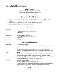 chronological format resume sle chronological resume 10 free word pdf documents