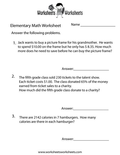 elementary math word problems worksheet  printable