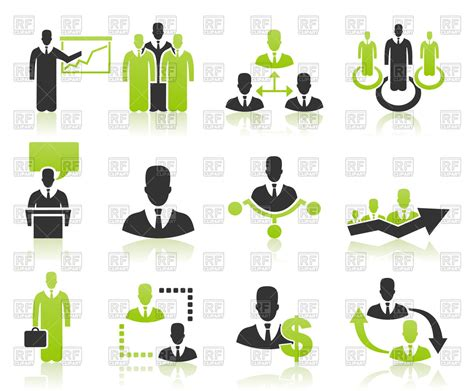 Business Icon Set With Users Vector Image