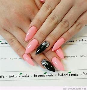 Botanic nails stiletto light pink, black, glitter – Watch ...