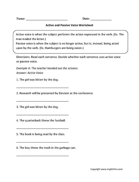 Englishlinxcom  Active And Passive Voice Worksheets