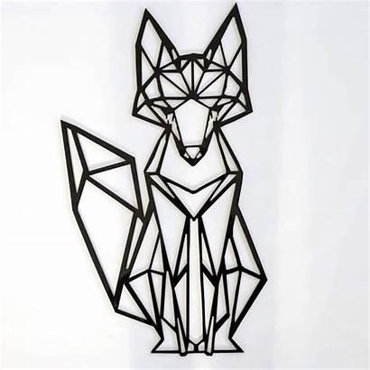 Geometric Fox Wall Decal Gold Cmc